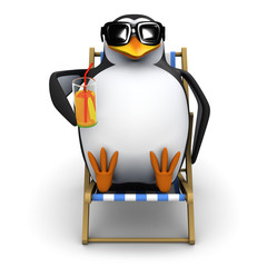 3d Penguin relaxes in deckchair with a nice drink
