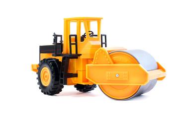 Toy yellow asphalt spreader