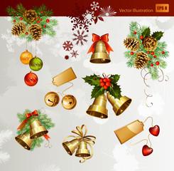 Christmas vector set of festive bells