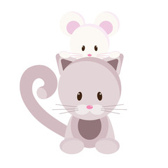 Cartoon kitten and mouse