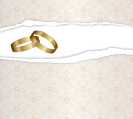 wedding card with gold rings