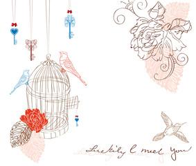 Printed roller blinds Birds in cages Valentine light background