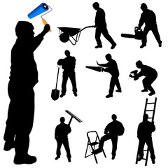 workers in various trades and tools vector illustration