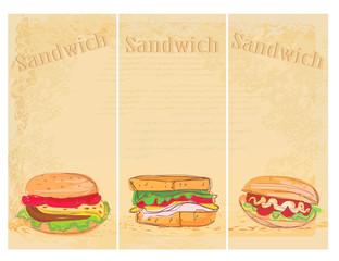Horizontal grunge background with sandwich set