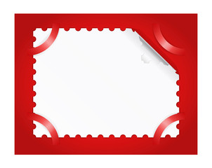 Postage stamp is on a red background.