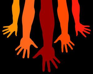 Giving hands vector illustration.