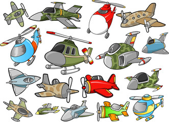 Cute Aircraft Vector Design Elements Set