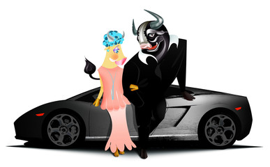 Black bull and his girlfriend standing in front of fast car