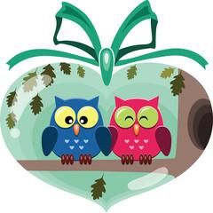 Valentine cute owls