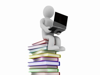 The man with the books and laptop, 3D