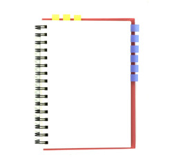 isolated pink notebook on white