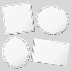 Vector white blank postage stamps