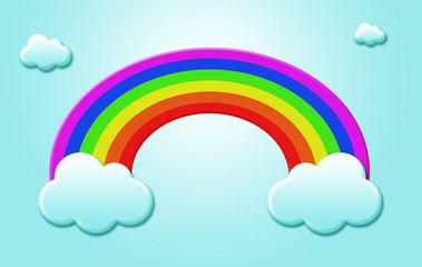 rainbow and cloudy sky background