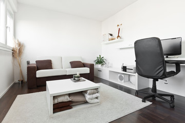 Modern living room with computer desk and the screen, sofa and t
