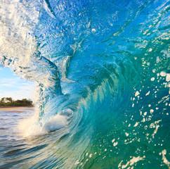 Wall Mural - Breaking Ocean Wave Crashing over Camera