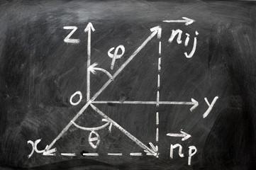 Maths formulas written on blackboard