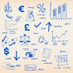 Hand Drawn Budgeting Icon Set