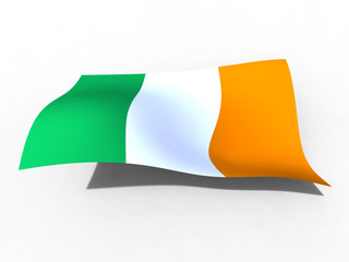 3d illustration of the Ireland flag that waves with wind