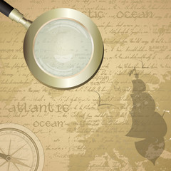Antique background with old grungy map and magnifying glass