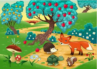 Keuken foto achterwand Magische wereld Animals in the wood. Cartoon vector illustration