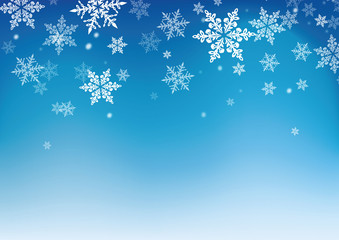 snowflakes blue background for winter and christmas theme