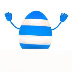 blue easter egg wave hands