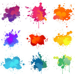 colorful paint splats collection set