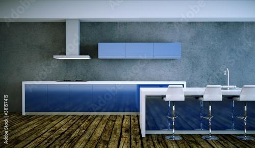 Kuchendesign Kuche Im Loft Blau Weiss Stock Photo And Royalty