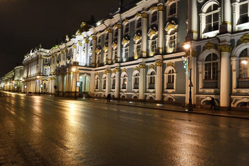 Night view of Palace Embankment in St.Petersburg
