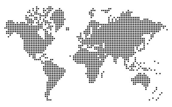 Heart shaped pixels world map.
