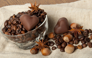 coffee beans and chocolate heart