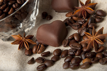 coffee beans and chocolate hearts
