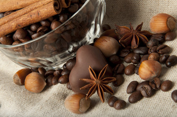 coffee beans, chocolate and cinnamon