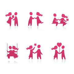 Set of icons - Couple in love - vector illustration