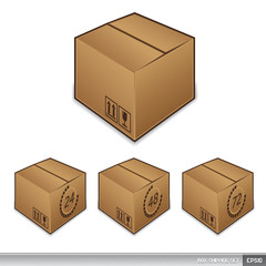 Shipping box icons with time