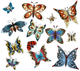 Set with butterflies