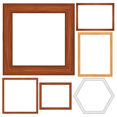Vector wooden frames on white background