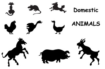 domestic animals silhouettes