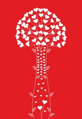 Abstract decorative bouquet with hearts