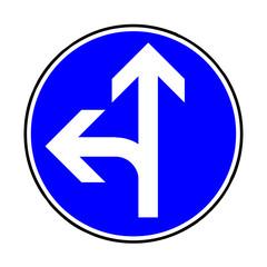Papier Peint - Verkehrsschild - 214  Fahrtrichtung gerade / links