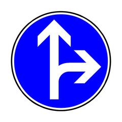 Papier Peint - Verkehrsschild - 214  Fahrtrichtung gerade / rechts