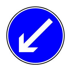 Papier Peint - Verkehrsschild - 222 vorgeschriebene Vorbeifahrt - links