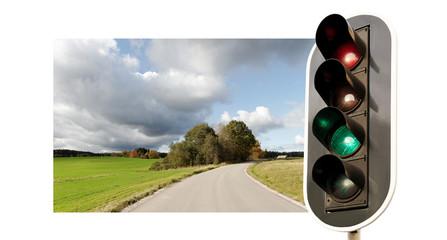 Traffic light and landscape.