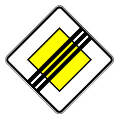 Papier Peint - Verkehrsschild - 307 Ende der Vorfahrtsstraße