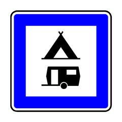 Papier Peint - Verkehrsschild - 366 Zelt- und Wohnwagenplatz