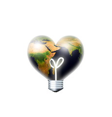 earth heart bulb over white background