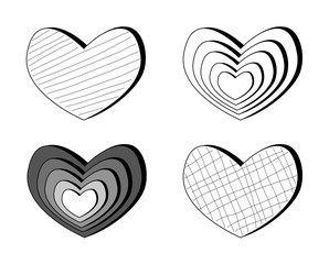 set of hearts. isolated on white. vector illustration