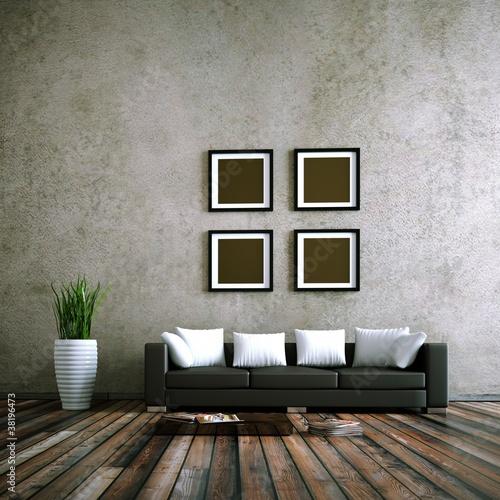 wohndesign schwarzes ledersofa vor betonwand. Black Bedroom Furniture Sets. Home Design Ideas