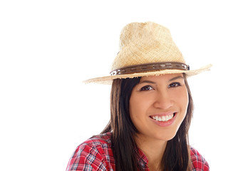 smiling teenage girl in checkered shirt