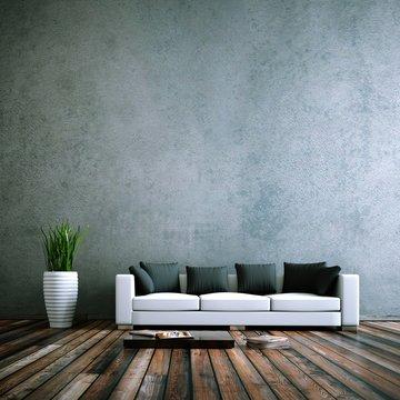 Wohndesign - Sofa weiss vor Betonwand